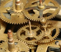 Mechanical clock gears Stock Images