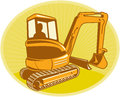 Mechanical digger excavator retro illustration of a construction done in style Royalty Free Stock Images