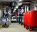 Mechanical and electrical plant rooms are are a highly sophisticated centers for efficiently controlling heating cooling of Royalty Free Stock Photography