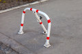 Mechanical folding barrier for parking of vehicles Royalty Free Stock Photos
