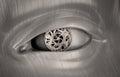 Mechanical gears inside a robot's eye Royalty Free Stock Photo
