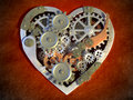 Mechanical heart gear mechanism creating an shape digital illustration Stock Images