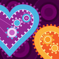 Mechanical hearts on purple Royalty Free Stock Images
