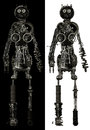 Mechanical human body parts isolated being either male or female the persona is made out of machine for its on both black and Stock Photos