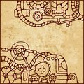 Mechanical pattern vintage background with elements of different mechanisms Stock Image