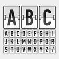 Mechanical timetable information board display a alphabet illustration Stock Photos