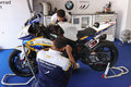 Mechanical working on BMW S1000 RR with BMW Motorrad GoldBet SBK Team Superbike WSBK Royalty Free Stock Photo
