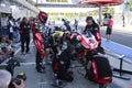 Mechanical working pit stop on Aprilia RSV4 1000 Factory with Aprilia Racing Team Superbike WSBK Royalty Free Stock Photo