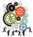 Mechanics working on gears and cogs illustrated background of silhouetted team of large set of white background Stock Photography