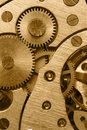 Mechanism of analog hours gold Royalty Free Stock Photo