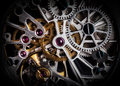 Mechanism, clockwork of a watch with jewels, close-up. Vintage luxury Royalty Free Stock Photo