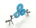 The mechanism d gears with black cartoon ants Royalty Free Stock Photos