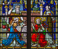 Mechelen deposition of the cross scene from windowpane of st rumbold s cathedral on september in belgium Stock Photos