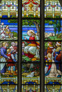 Mechelen sermon on the mount scene from windowpane in st rumbold s cathedral september belgium Stock Image