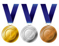 Medal award set gold silver and bronze with blue ribbon Royalty Free Stock Image
