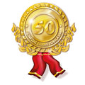 Medal fifty years anniversary golden Royalty Free Stock Photo
