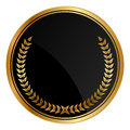 Medal with gold laurels vector black Royalty Free Stock Photo