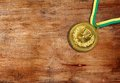 Medal golden on the table Royalty Free Stock Images