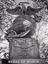 Medal of Honor Monument The Woodlands TX B&W Royalty Free Stock Photo