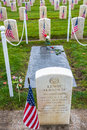 Medal of honor purple heart recipient grave site seattle nov and lewis albanese with flags for veterans day at arlington the Stock Photo