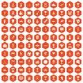 100 medal icons hexagon orange