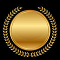 Medal and laurels on black background vector gold Stock Photos