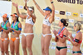 Medal presentation in women s fivb world tour game beach volleyball is a which has achieved worldwide popularity photo taken Stock Photos