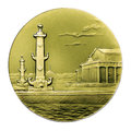 The medal of rostral columns and building central naval museum reverse st petersburg russia Stock Photo