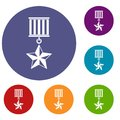 Medal star icons set