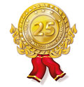 Medal twenty five years anniversary golden Royalty Free Stock Photos