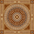 Medallion design parquet floor, wooden seamless texture Royalty Free Stock Photo