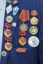 Medals and Gold Star Medal of Hero of the Soviet Union . Patriotic holiday in honor of the anniversary of the end of the war, Royalty Free Stock Photo