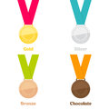 Medals set gold silver bronze Royalty Free Stock Photos