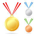 Medals set illustration on white background Stock Photos