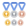 Medals set isolated objects on white background vector illustration eps Royalty Free Stock Image