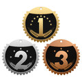 Medals for winners set of on white background Royalty Free Stock Image