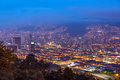 Medellin cityscape of colombia taken at dusk Stock Image