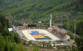 Medeo stadium ice skating rink in the mountains kazakhstan Stock Photo