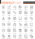 Media Advertising thin line web icons set. Outline stroke icons design.