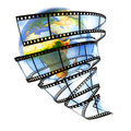 Media around the earth film strip isolated on white hi res digitally generated image Royalty Free Stock Photos