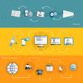 Media banner set Royalty Free Stock Photo