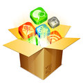 Media box color icons flying out of cardboard Royalty Free Stock Image