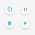 Media buttons white vector illustration Royalty Free Stock Images
