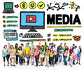 Media Devices Mess Communication Multimedia Concept Royalty Free Stock Photo