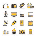 Media equipment icons Stock Photos