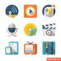 Media flat icon set and communication icons Royalty Free Stock Image