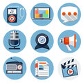 Media flat icons for web and mobile applications vectot illustration Stock Images