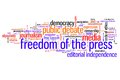 Media freedom of the press issues and concepts word cloud illustration word collage concept Royalty Free Stock Images