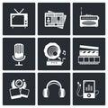 Media geplaatst pictogram video nieuws muziek tv opname foto Royalty-vrije Stock Foto