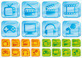 Media glass icons Stock Image